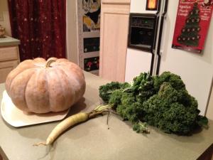 pumpkin greens and carrot